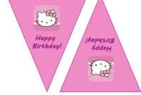 Hello Kitty Birthday Banner Template Free 2 » Happy Birthday with Hello Kitty Banner Template