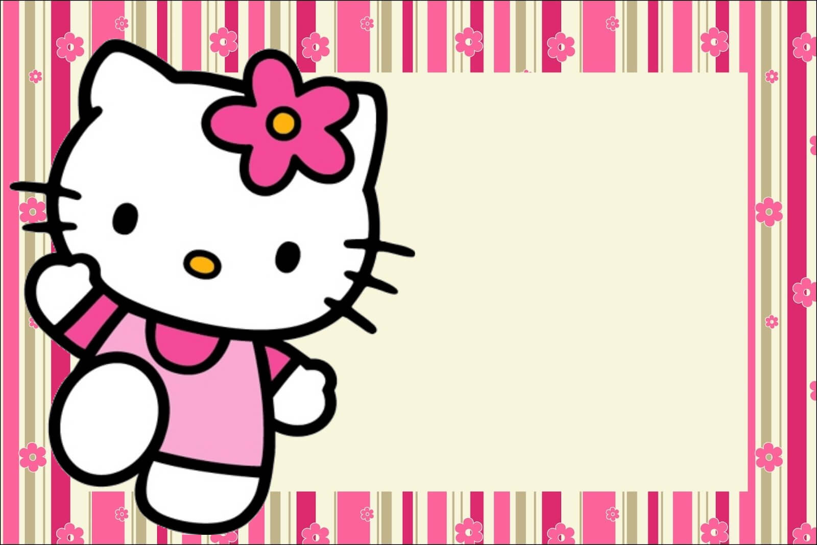 Hello Kitty With Flowers: Free Printable Invitations. - Oh within Hello Kitty Birthday Banner Template Free