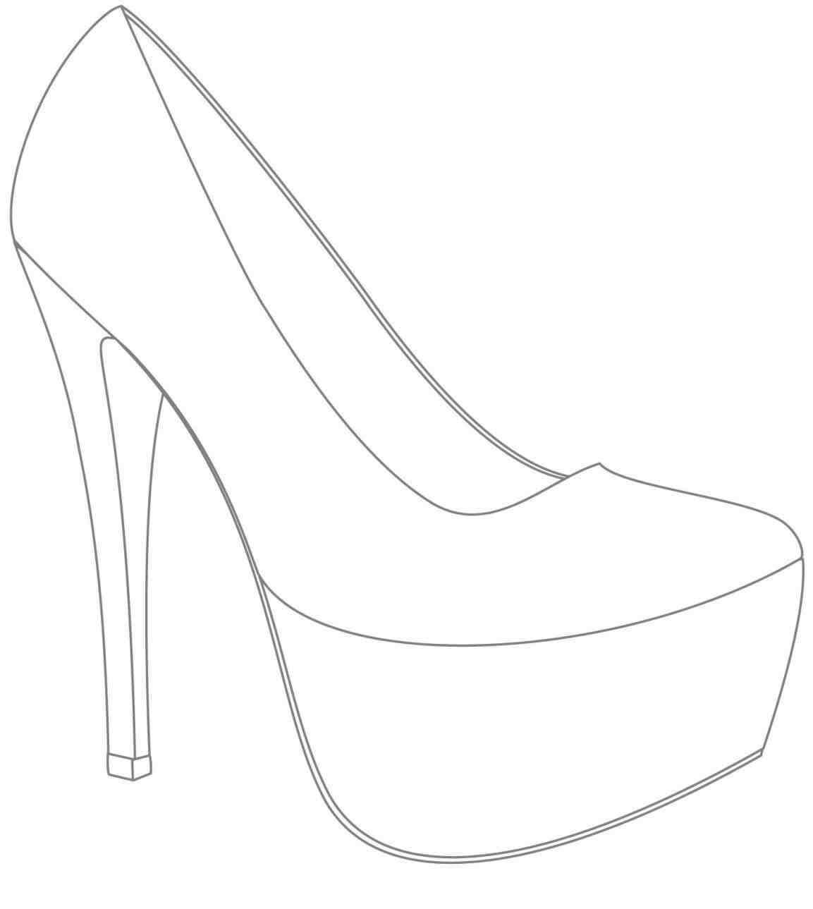 High Heel Drawing Template At Paintingvalley | Explore throughout High Heel Shoe Template For Card