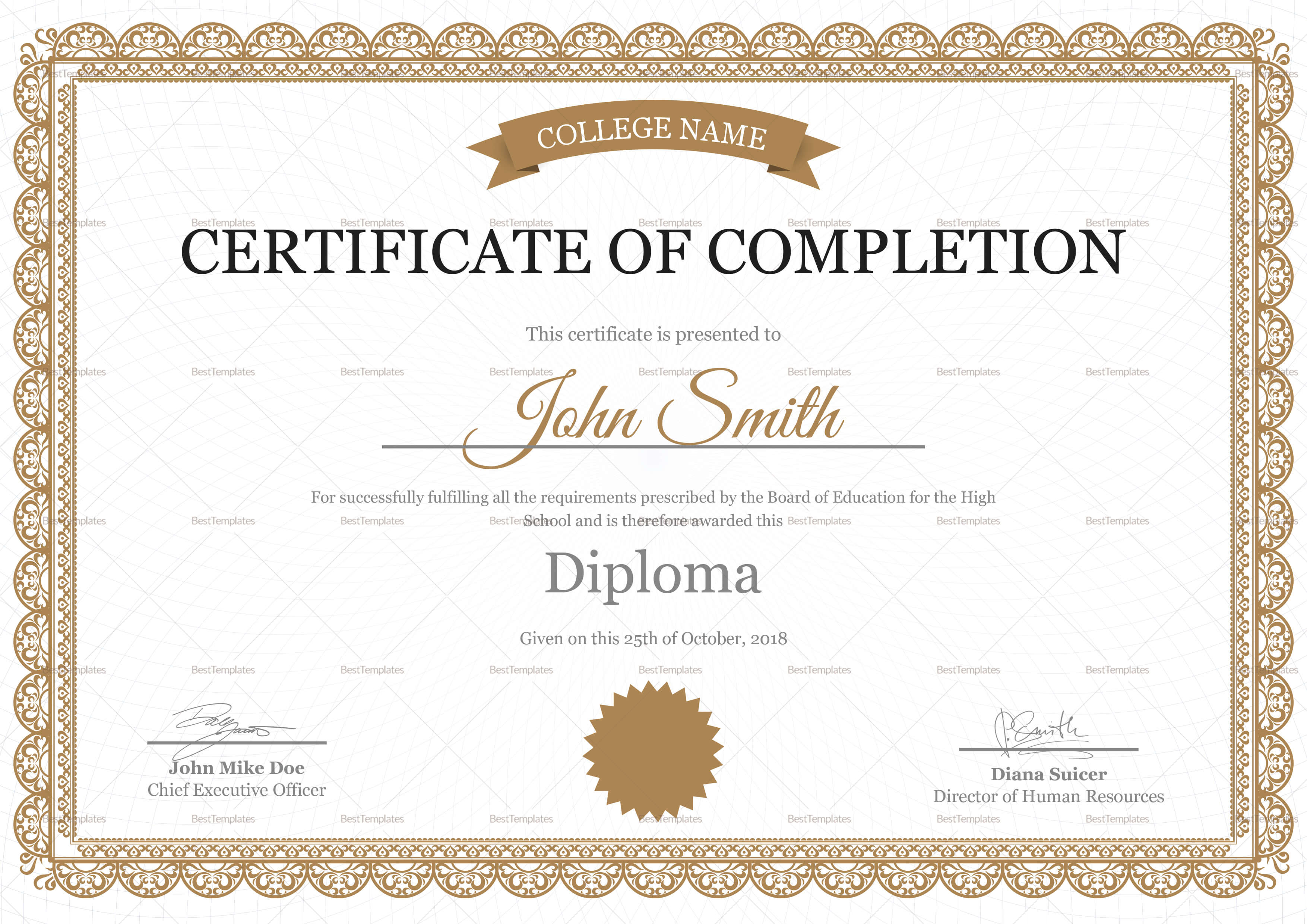 High School Completion Certificate Template throughout Certificate Templates For School