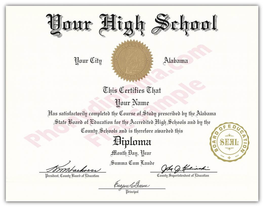 High School Fake Diplomas, Fake High School Degrees And throughout University Graduation Certificate Template