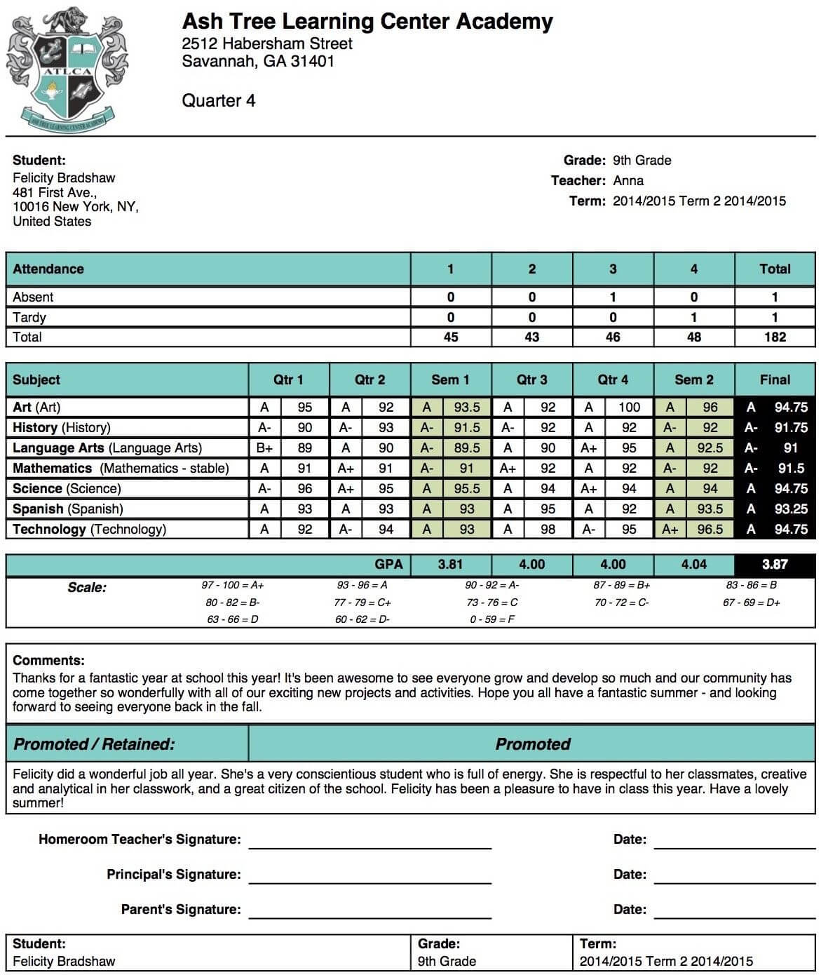 High School Report Card Template - Free Report Card Template within Middle School Report Card Template