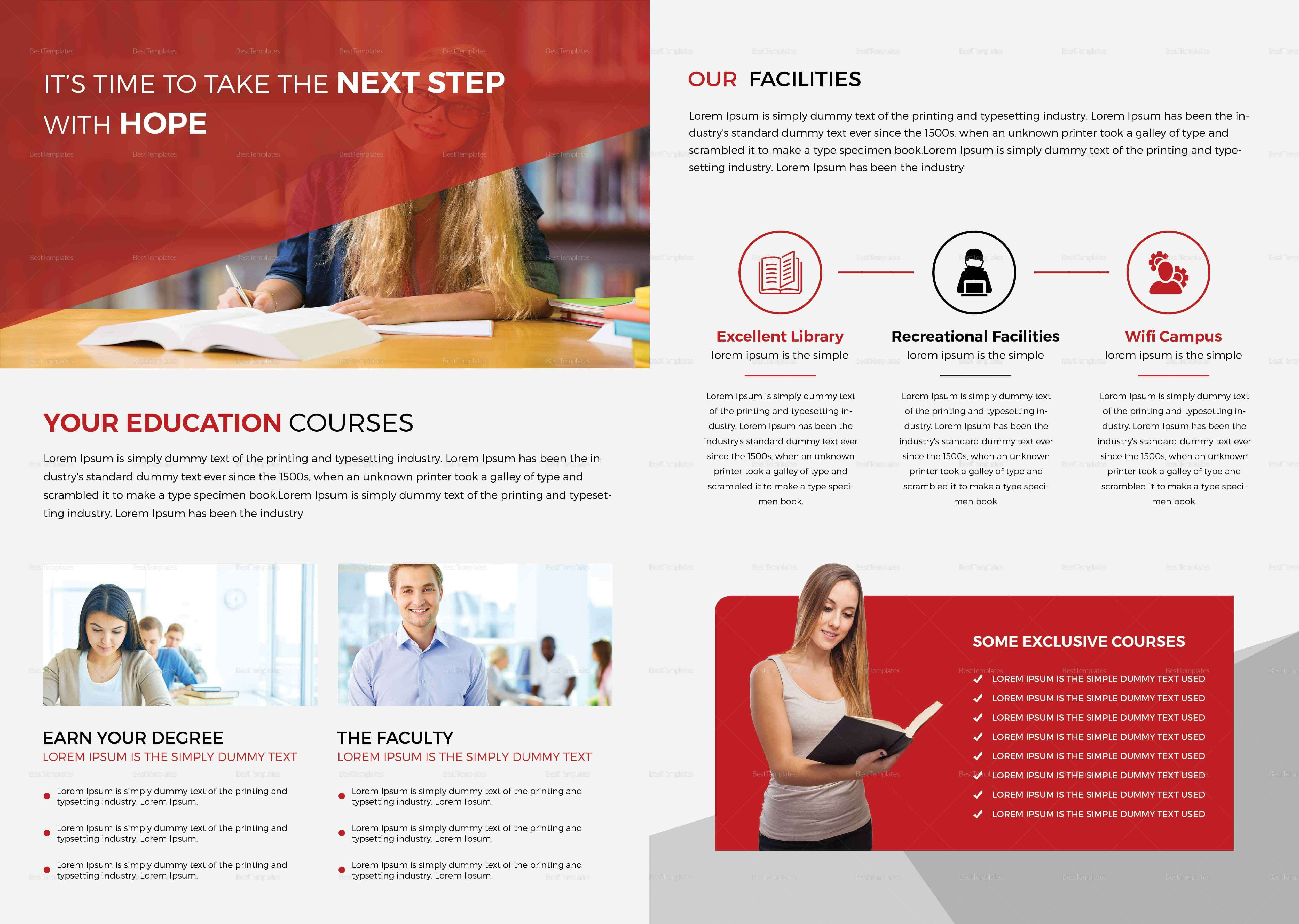 Higher Educational Brochure Template Throughout Brochure Design Templates For Education