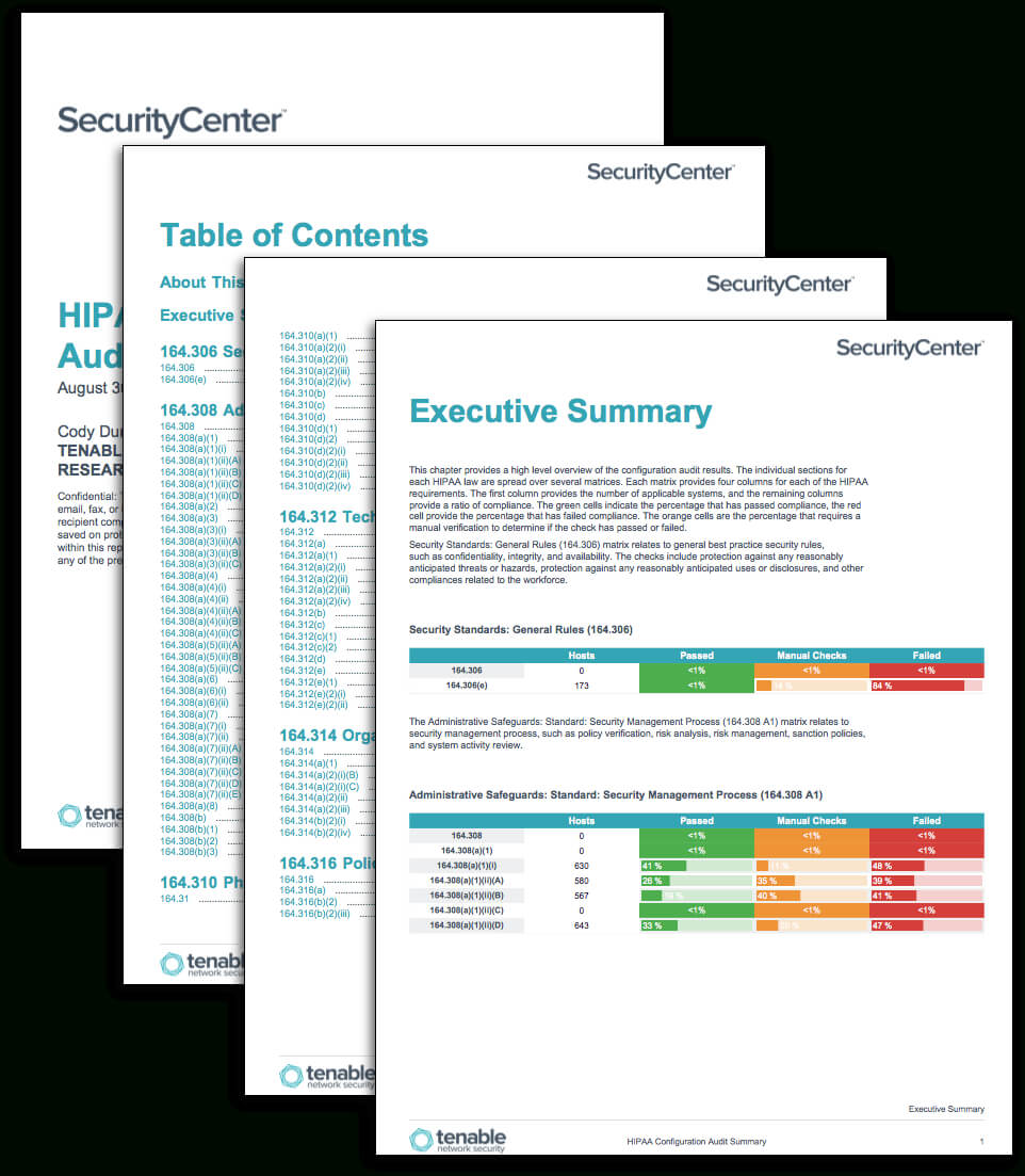 Hipaa Configuration Audit Summary - Sc Report Template pertaining to Pci Dss Gap Analysis Report Template