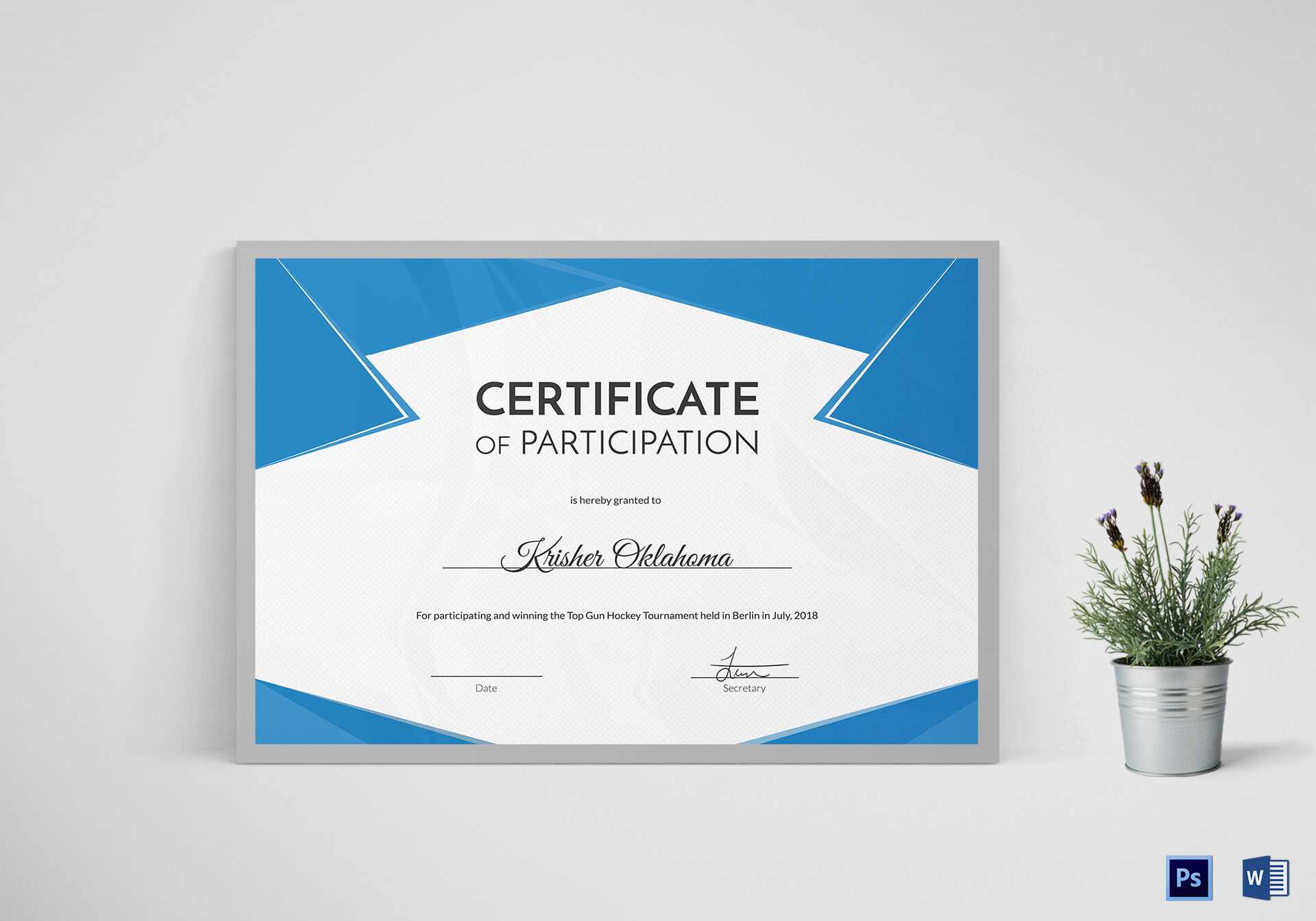 Hockey First Place Certificate Template for Hockey Certificate Templates
