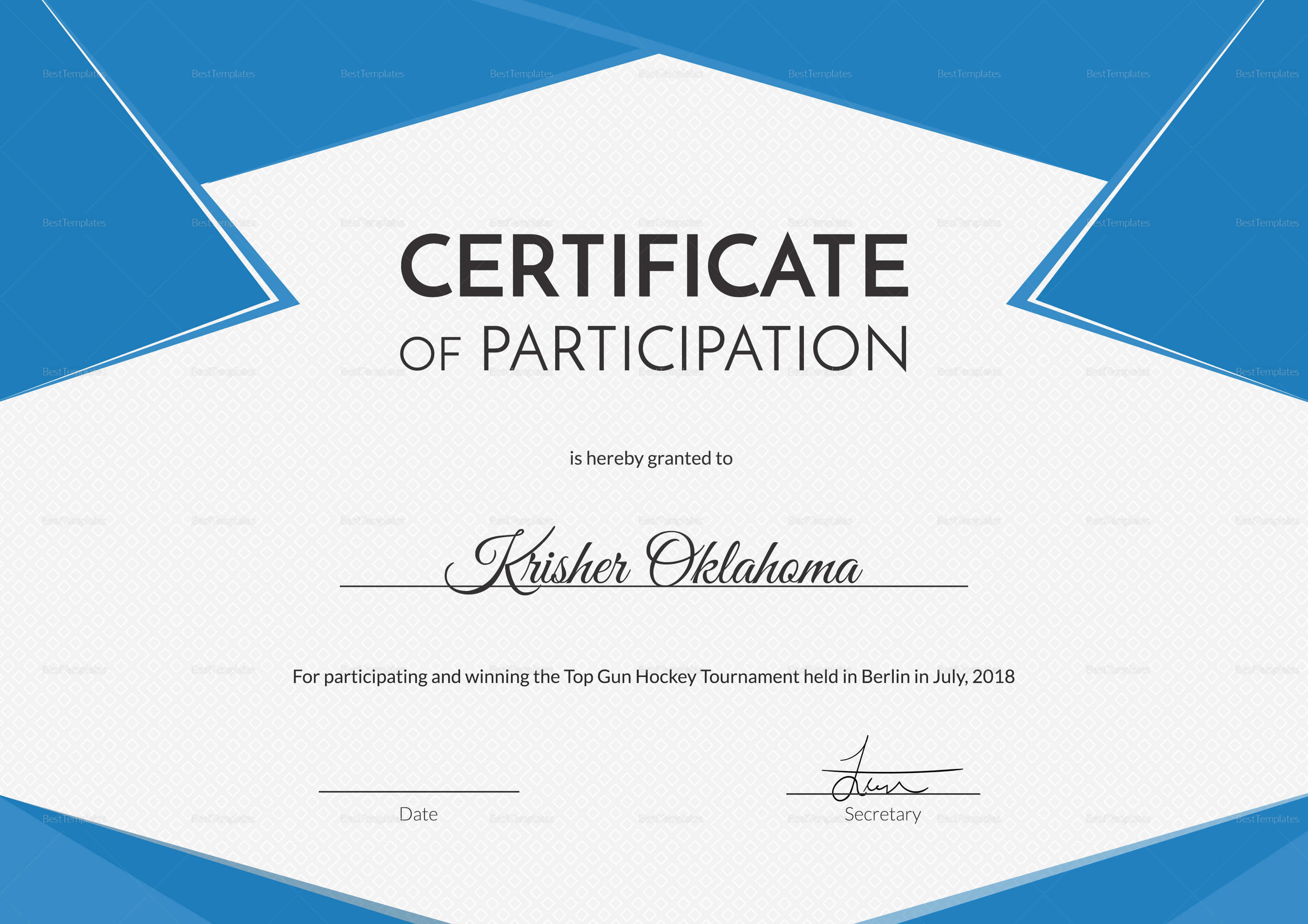 Hockey First Place Certificate Template with regard to Hockey Certificate Templates