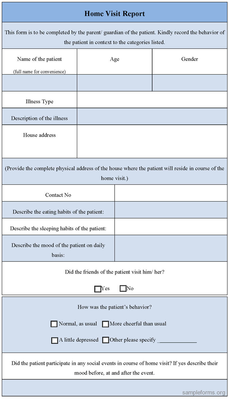 Home Visit Report Form : Sample Forms regarding Patient Report Form Template Download