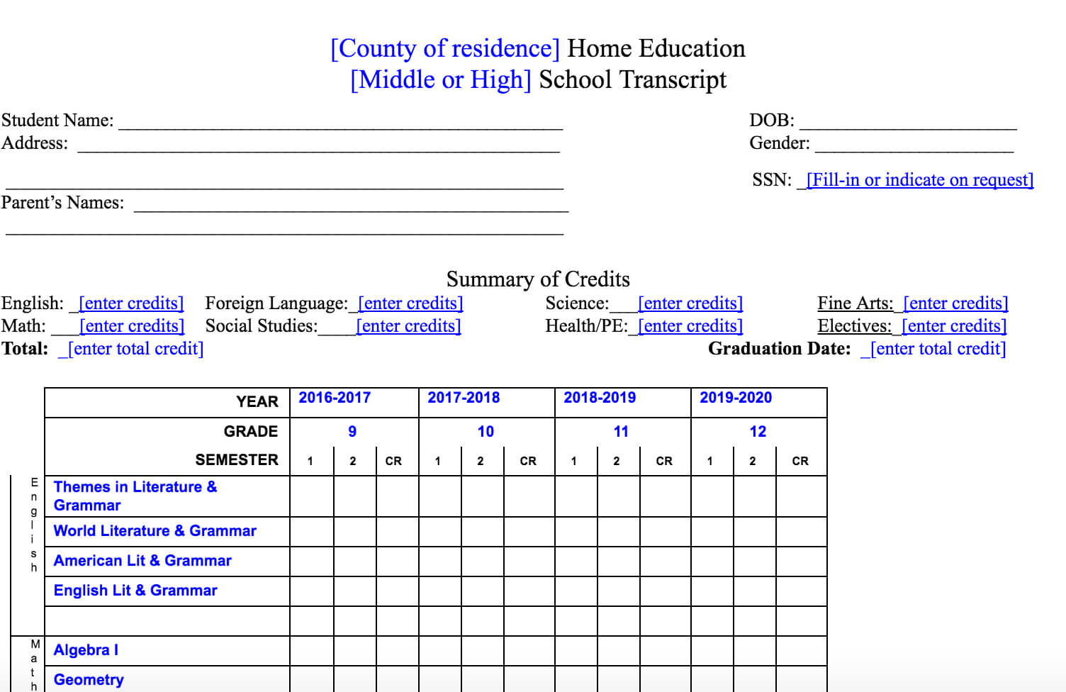 Homeschool Transcript Services And Report Cards Now in Homeschool Report Card Template
