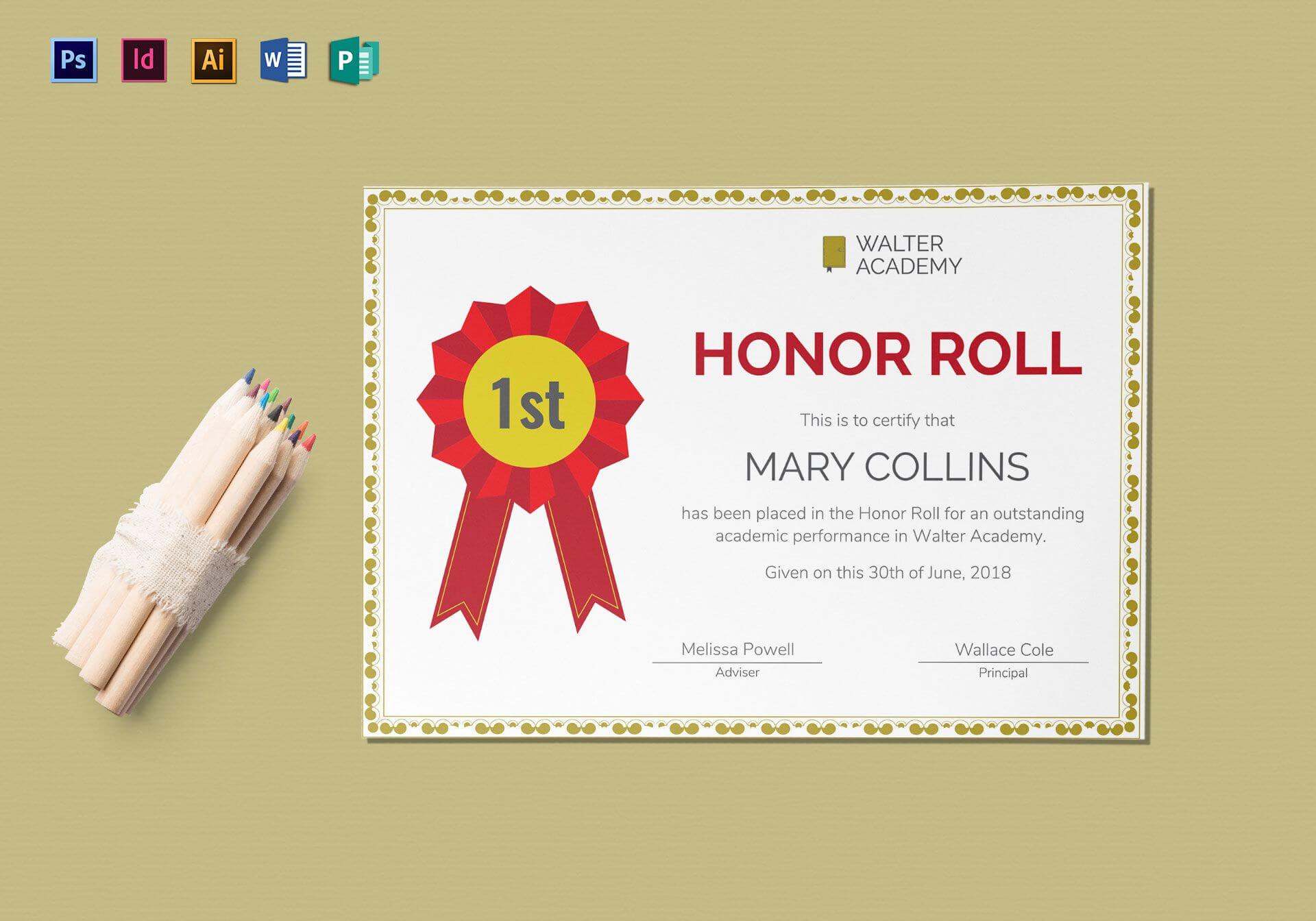 Honor Roll Certificate Template in Honor Roll Certificate Template