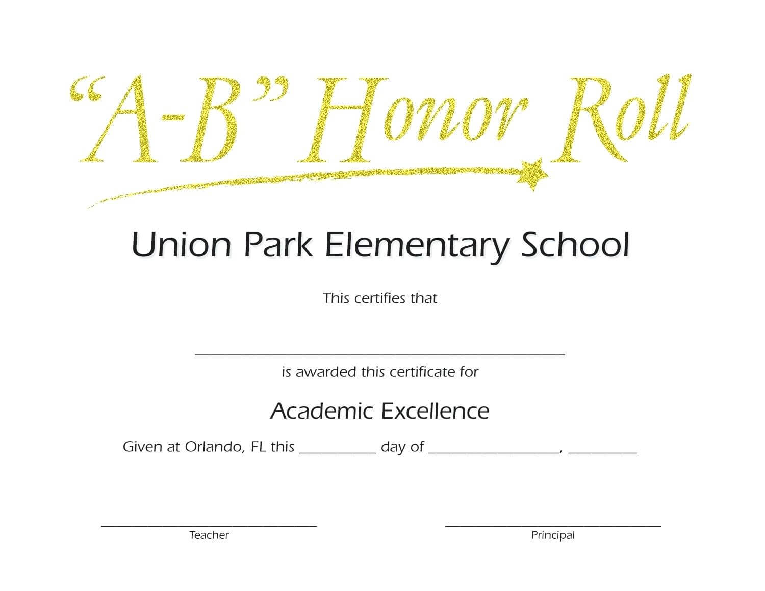 Honor Roll Certificate Template – Wepage.co throughout Honor Roll Certificate Template