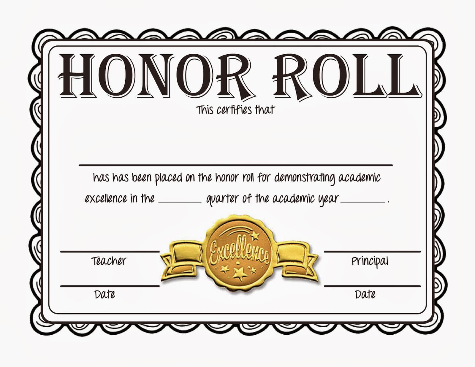Honor Roll Certificates Template within Honor Roll Certificate Template