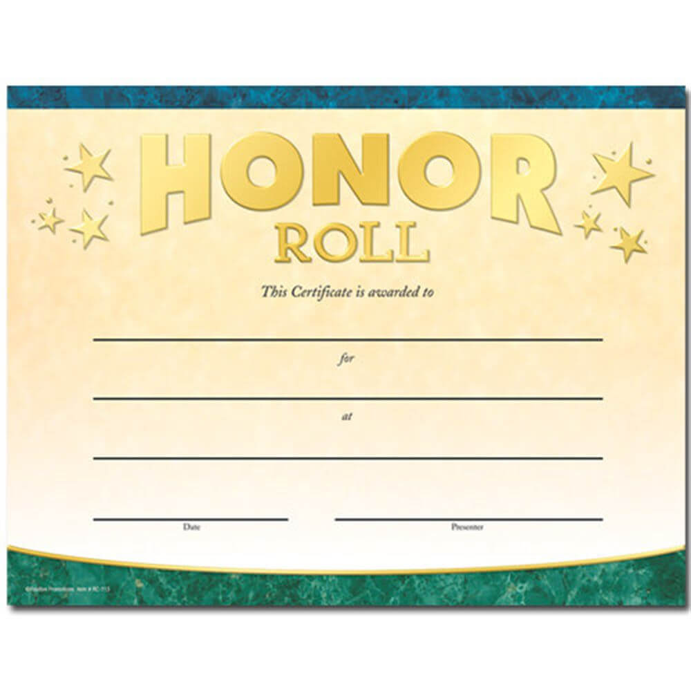 Honor Roll Gold Foil-Stamped Certificates regarding Honor Roll Certificate Template