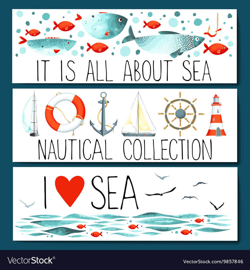 Horizontal Banner Templates With Nautical Elements intended for Nautical Banner Template