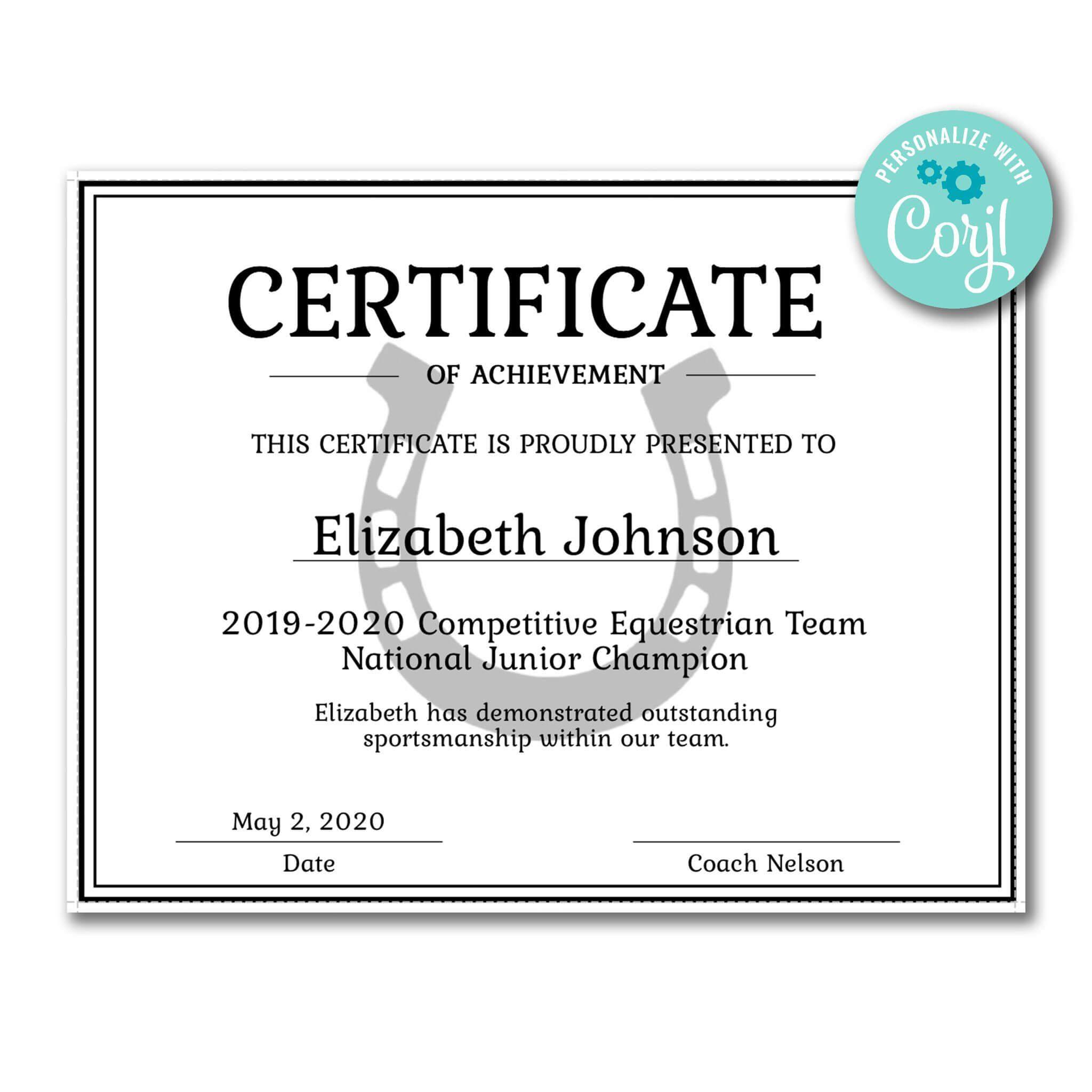 Horseshoe Certificate   Certificate Templates, Certificate for Hockey Certificate Templates