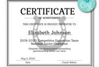 Horseshoe Certificate   Certificates   Printable Award in Gymnastics Certificate Template