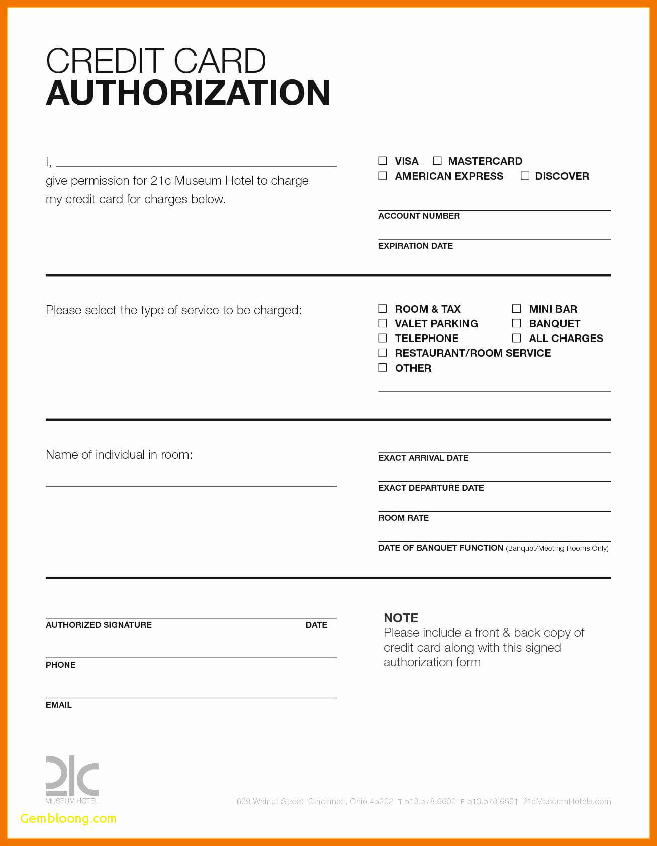 Hotel Credit Card Authorization Form Template Elegant with Credit Card Authorization Form Template Word
