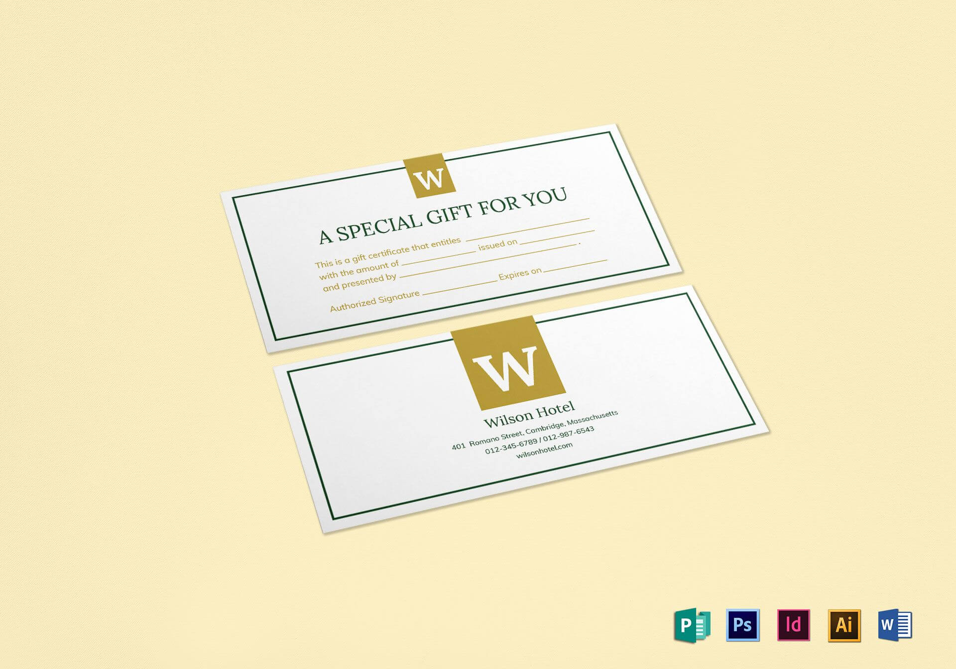 Hotel Gift Certificate Template for Publisher Gift Certificate Template