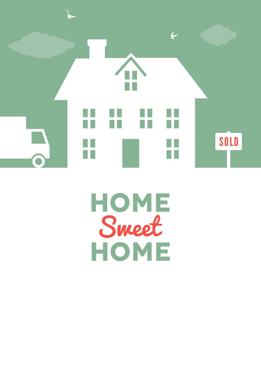 House And Birds – Free Printable Moving Announcement Inside Moving Home Cards Template