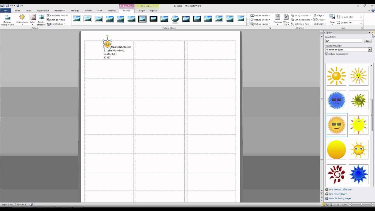 How To Add Images And Text To Label Templates In Microsoft Word regarding Word Label Template 8 Per Sheet