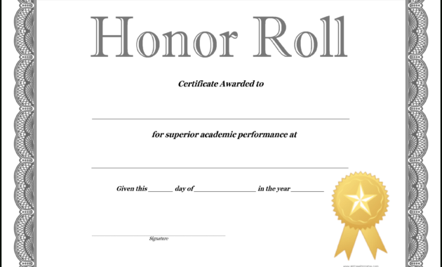 How To Craft A Professional-Looking Honor Roll Certificate pertaining to Honor Roll Certificate Template
