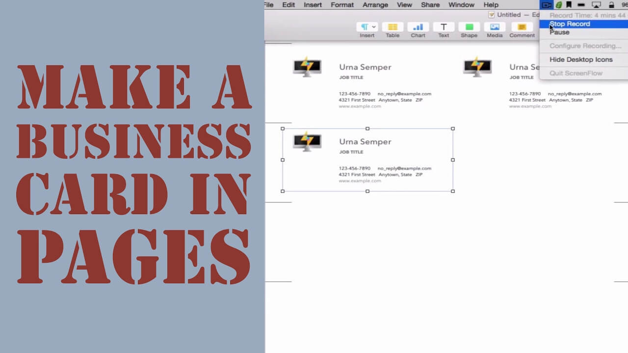 How To Create A Business Card In Pages For Mac (2014) Inside Pages Business Card Template