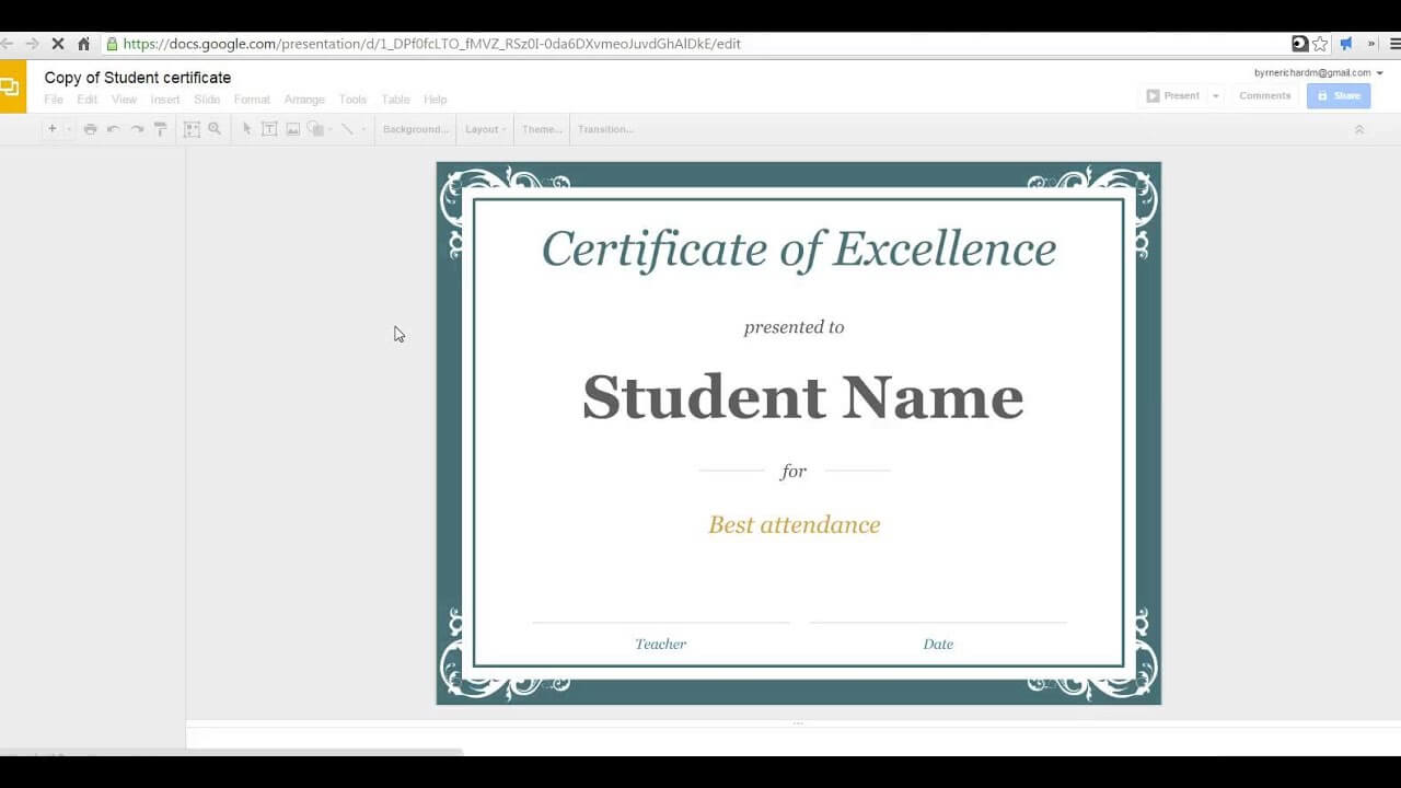 How To Create A Certificate In Google Slides for Choir Certificate Template