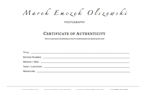 How To Create A Certificate Of Authenticity For Your Photography inside Photography Certificate Of Authenticity Template