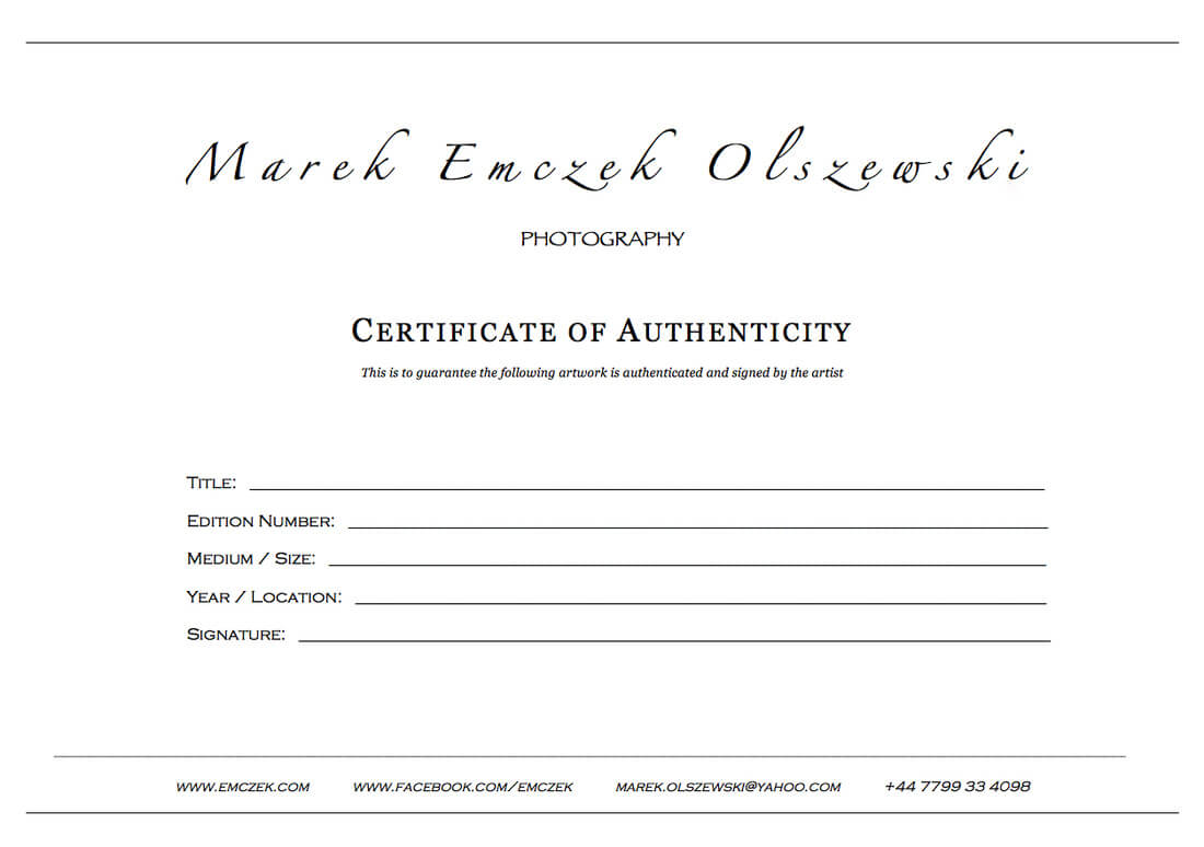 Photography Certificate Of Authenticity Template