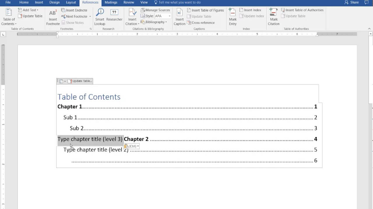 How To Create A Manual Table Of Contents In Word 2016 With Contents Page Word Template