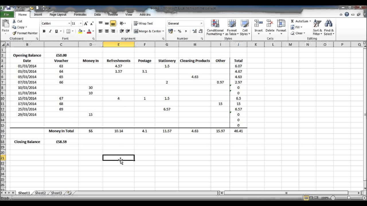 How To Create A Petty Cash Template Using Excel - Part 4 throughout Petty Cash Expense Report Template