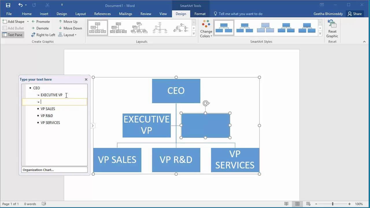 How To Create An Organization Chart In Word 2016 With Regard To Organization Chart Template Word