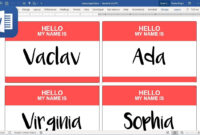 How To Create Name Tags (Badges) In Microsoft Word (Tutorial) with regard to Name Tag Template Word 2010