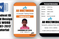 How To Create Professional Student Id Card In Ms Word 2013|Two Part Id Card  Design Microsoft Word for Personal Identification Card Template