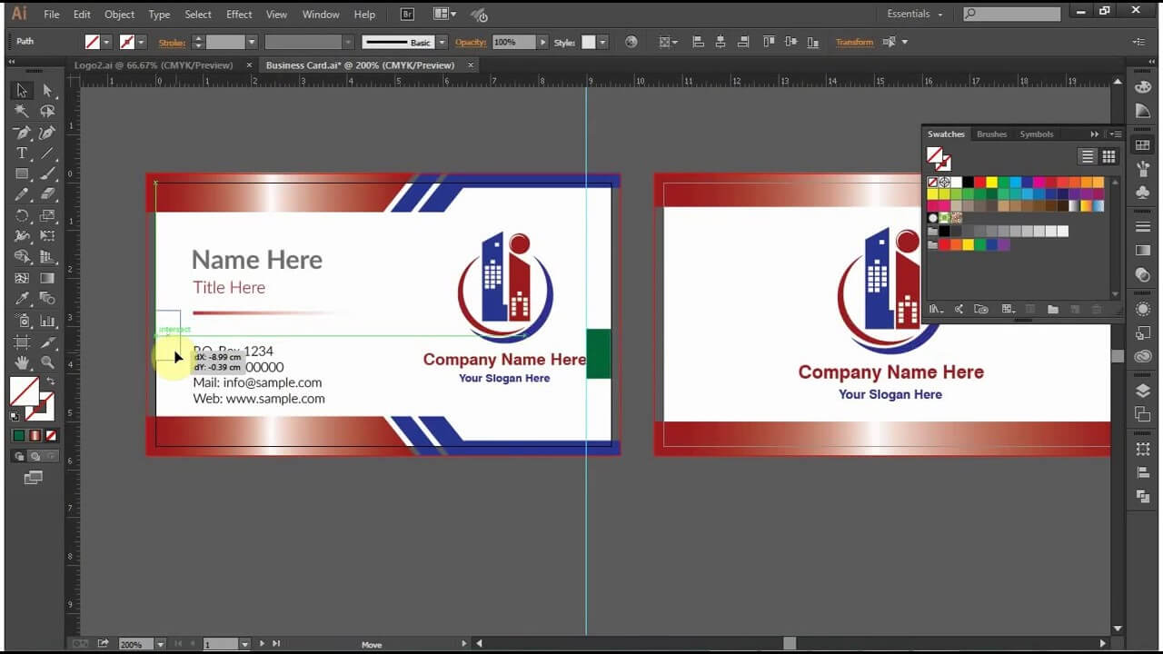 How To Design A Double Sided Business Card In Adobe Illustrator Cc, Cs6, Cs5 In Double Sided Business Card Template Illustrator
