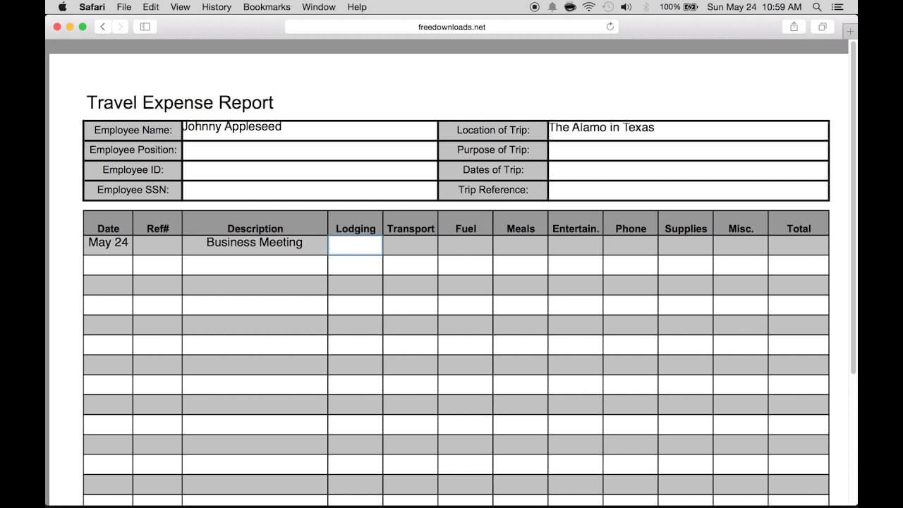 How To Fill-In A Free Travel Expense Report | Pdf | Excel with Expense Report Template Excel 2010