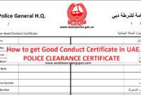 How To Get Good Conduct Certificate In Uae – Uae Labours in Good Conduct Certificate Template