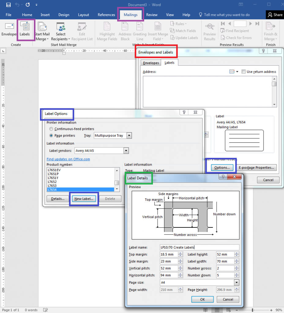 How To – How To Create Your Own Label Templates In Word within Label Template 21 Per Sheet Word