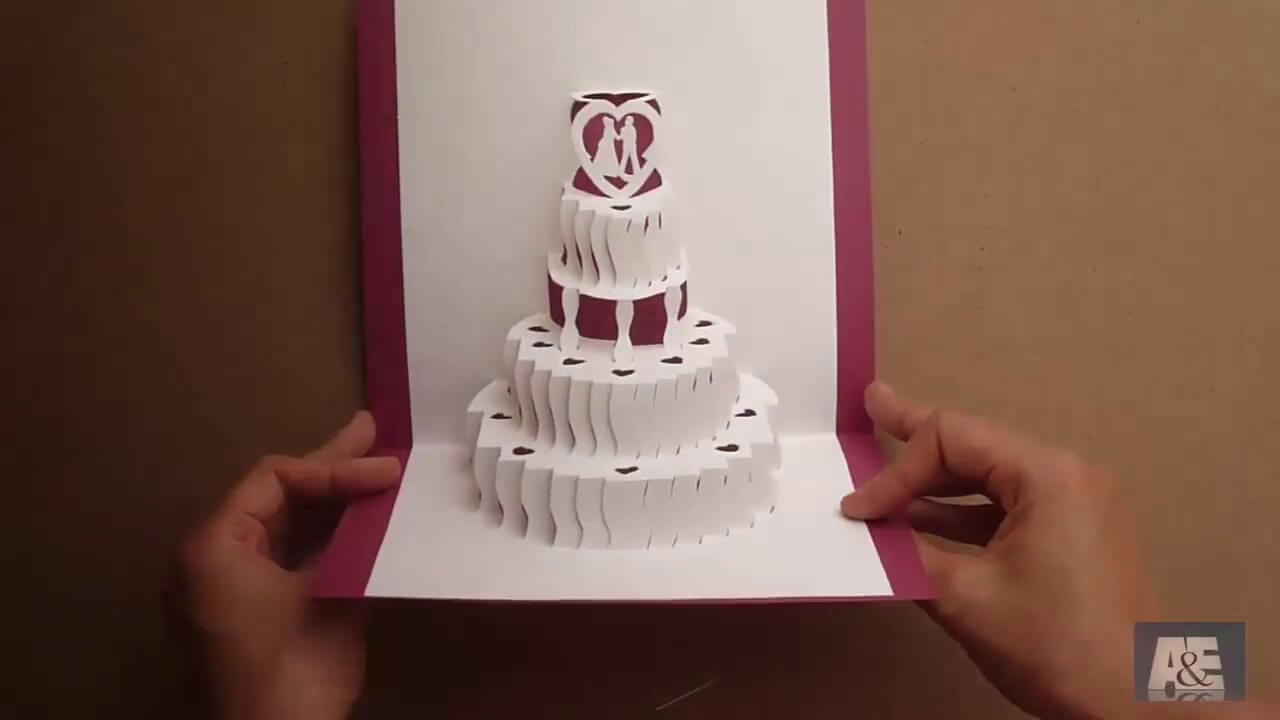 How To Make A Amazing Wedding Cake Pop Up Card Tutorial - Free Template intended for Pop Up Wedding Card Template Free
