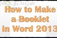 How To Make A Booklet In Word 2013 within Word 2013 Brochure Template