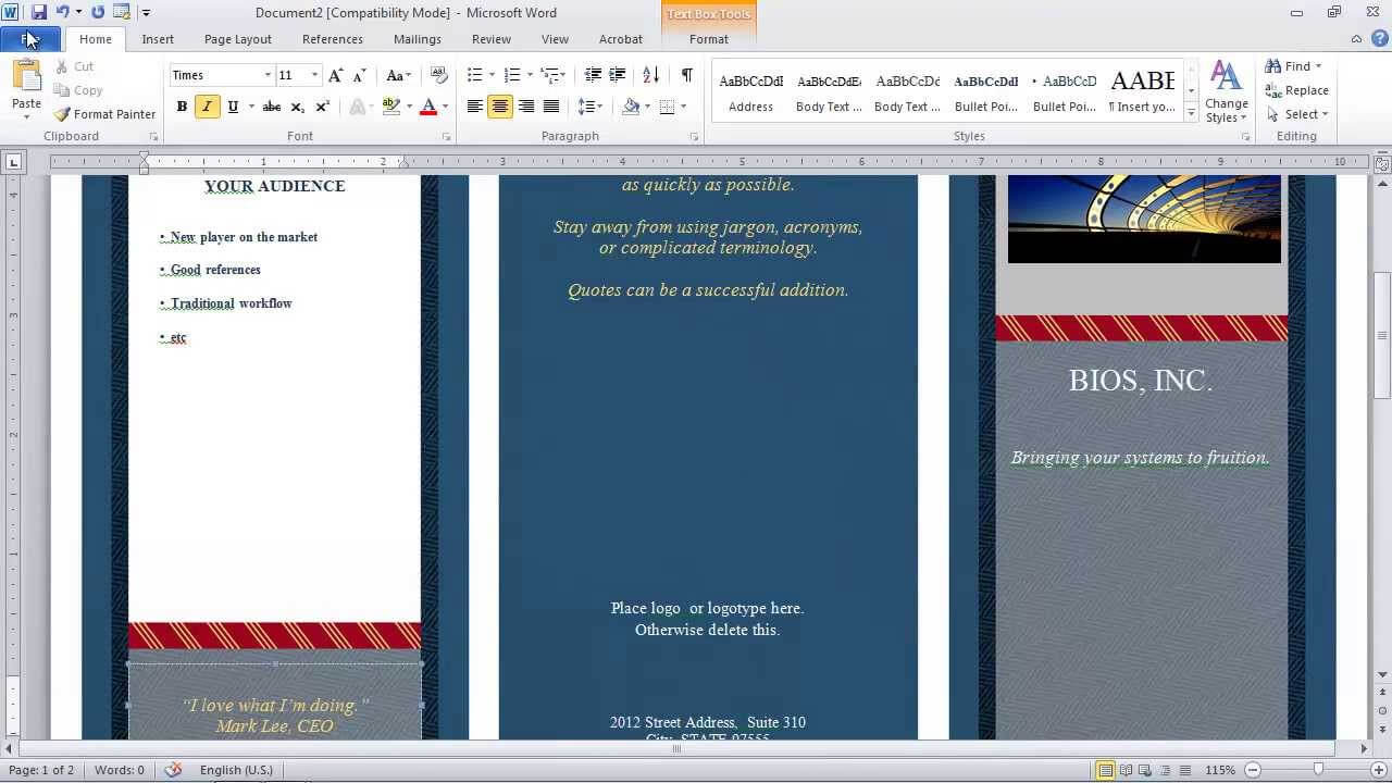 How To Make A Brochure In Microsoft Word With Regard To Microsoft Word Pamphlet Template