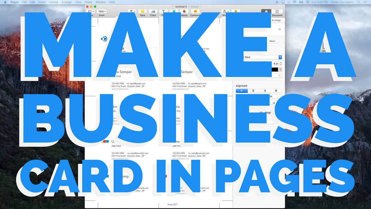 How To Make A Business Card In Pages For Mac (2016) inside Pages Business Card Template