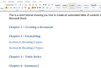 How To Make Automated Table Of Contents In Microsoft Word pertaining to Contents Page Word Template