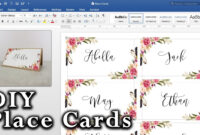 How To Make Diy Place Cards With Mail Merge In Ms Word And Adobe Illustrator for Place Card Size Template