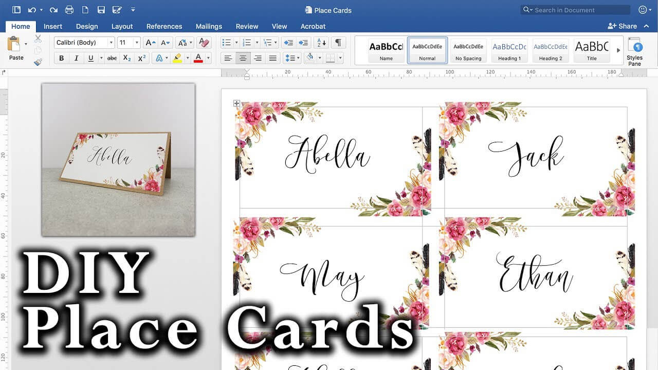 How To Make Diy Place Cards With Mail Merge In Ms Word And Adobe Illustrator Pertaining To Microsoft Word Place Card Template