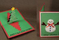 How To Make Diy Pop Up Christmas Card With Tree And Snowman regarding Diy Christmas Card Templates