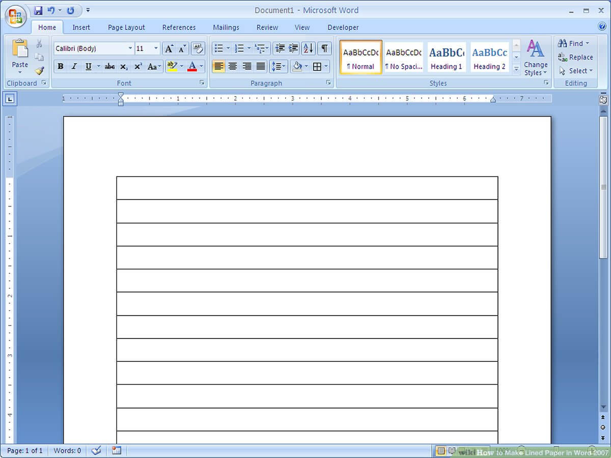 How To Make Lined Paper In Word 2007: 4 Steps (With Pictures) In Notebook Paper Template For Word 2010