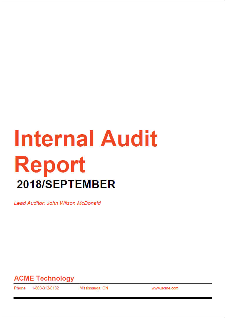 How To Prepare A High-Impact Internal Audit Report throughout Iso 9001 Internal Audit Report Template