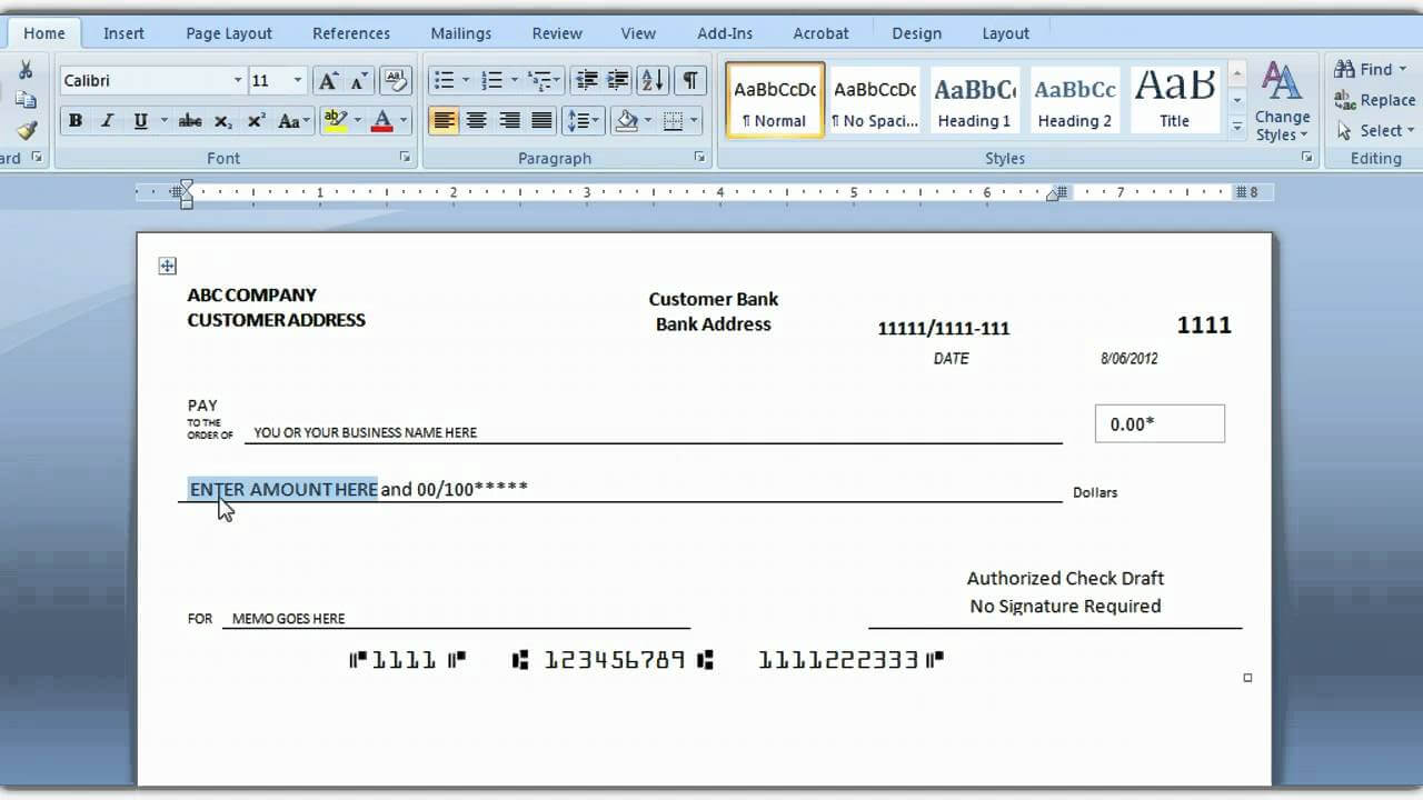 How To Print A Check Draft Template Within Blank Check Templates For Microsoft Word