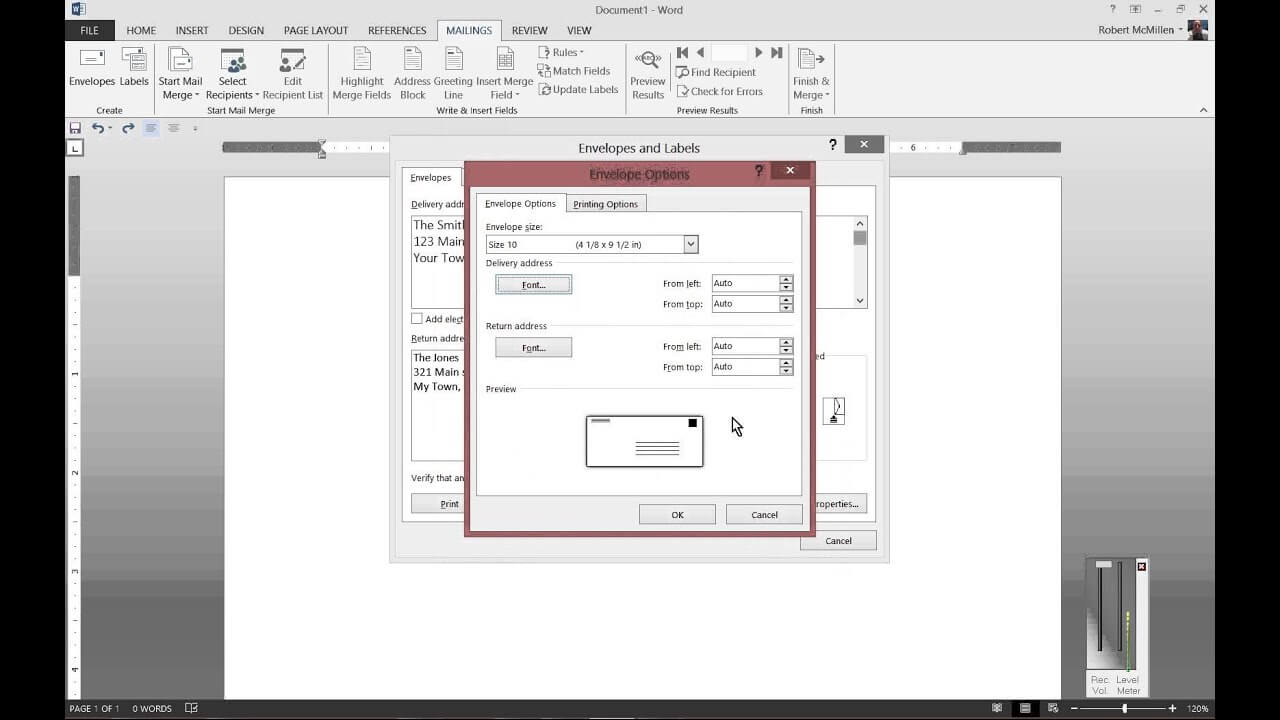 How To Print To Envelopes In Microsoft Word 2013 Pertaining To Word 2013 Envelope Template