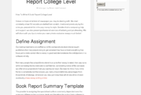 How To Write A Book Report College Level – Bpi – The in College Book Report Template